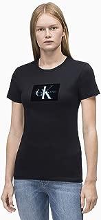 Calvin Klein Jeans Women's Flock Monogram Logo Slim Fit T-Shirt