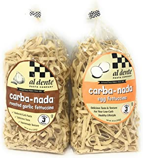 Carba-nada Reduced Carb Fettuccine Pasta Bundle Of Two 10 Ounces Bags: One Egg and One Garlic Roasted Fettuccine