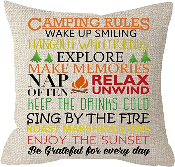 NIDITW Nice Sister Birthday Gift With Funny Camping Rules Cream Burlap Throw Pillow Case Pillowcase Cushion Cover Pillow Sham Sofa Couch Decorative Square 18x18 Inches