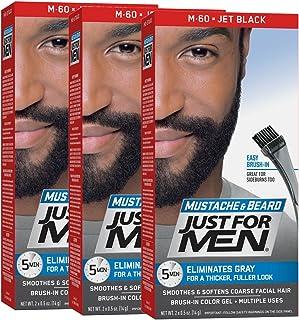 Just For Men Mustache & Beard Color, Beard Coloring for Men, Jet Black (Pack of 3)