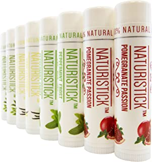All Natural Beeswax Lip Balm - 8 Pack Gift Set by Naturistick. Best Moisturizing Chapstick for Healing Dry, Chapped Lips. With Aloe Vera, Vitamin E, Coconut Oil. For Men, Women and Kids. Made in USA.