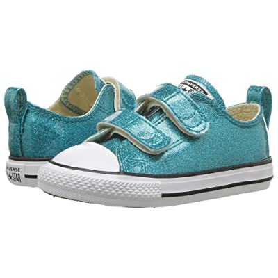 Converse Kids Chuck Taylor(r) All Star(r) 2V Ox (Infant/Toddler) (Rapid Teal/Natural/White) Girls Shoes