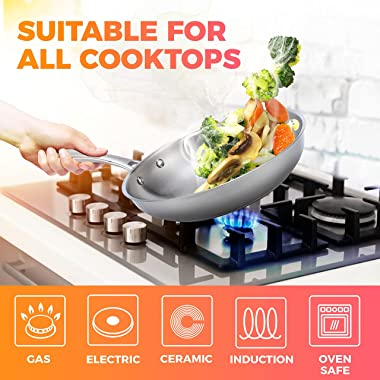Mueller Pots and Pans Set 11-Piece, Ultra-Clad Pro Stainless Steel Cookware Set, Ergonomic and EverCool Stainless Steel Handl
