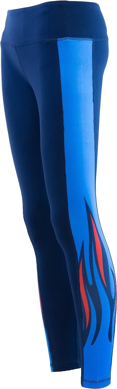 Blazing Flame Yoga Pant Full Length Leggings Blue