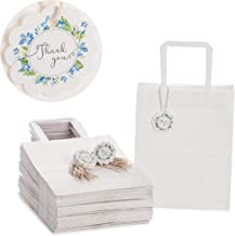 OSpecks Qty 50 Pcs Medium 8x4.75x10 Inches White Kraft Paper Gift Bags Bulk with Handle, Include 50 Tags and Strings, Customer Bags for Retail Stores, Checkout, Reunion, Conference, Events, Craft Fair