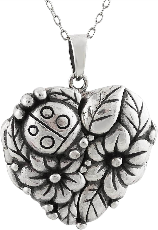 FashionJunkie4Life Sterling [Alternative dealer] Cheap SALE Start Silver Ladybug Heart Flower Keepsake