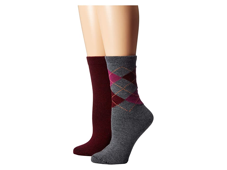 HUE Argyle Boot Socks 2-Pair Pack (Graphite Heather) Women's Crew Cut Socks Shoes, Gray