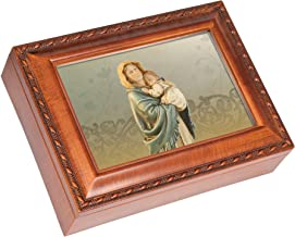 Cottage Garden Madonna of The Streets Wood Finish Jewelry Music Box Plays Ave Maria