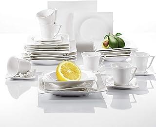 vancasso, Série Lolita, 30 Pcs Service de Table pour 6 Personnes, Service Complet Vaiselle en Porcelaine Blanche, Tasses à...