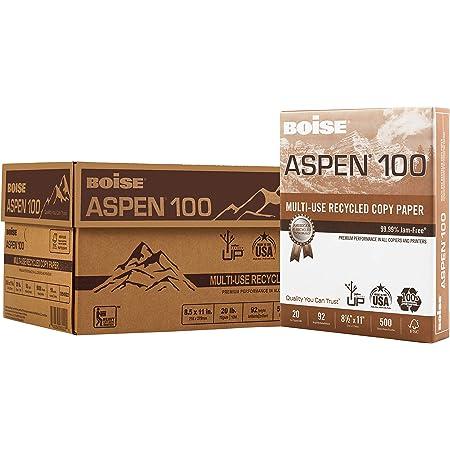 "BOISE ASPEN 100% Recycled Multi-Use Copy Paper, 8.5"" x 11"" Letter, 92 Bright White, 20 lb, 10 Ream Carton (5,000 Sheets)"