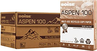 """Boise Paper 100% Recycled Multi-Use Copy Paper, 8.5"""" x 11"""" Letter, 92 Bright White, 20 lb, 10 Ream Carton (5,000 Sheets) photo"""