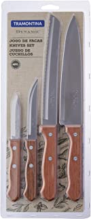 Tramontina Dynamic 4 Piece Kitchen Essentials Knife Set with Riveted Wooden Handles | Kitchen Knives Starter Set