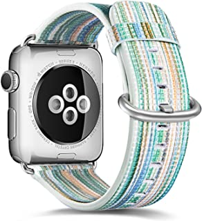 Pierre Case Compatible Apple Watch Band 42mm 44mm, Genuine Leather Iwatch Strap Rainbow Replacement Bands Compatible iWatch Series 5 Series 4 Series 3 2 1 Edition Women Men(Green)