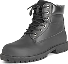 Mens Leather Work Safety Steel Toe Durable Rubber Sole Ankle Boots