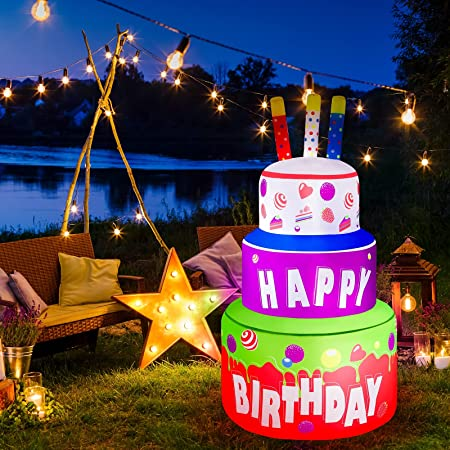 Elcoho 4 Feet Giant Inflatable Happy Birthday Cake Large Birthday Party Inflatable Yard Decor Outdoor Decoration with Fan Blower and LED Lights for Home Garden Party Favor Decoration