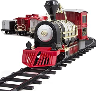 FAO Schwarz 1006832 Classic Motorized Train Set, Complete Toy Set with Engine, Cargo, 18' of Modular Tracks, Red/ Black, P...