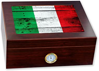ExpressItBest Premium Desktop Humidor - Glass Top - Flag of Italy (Italian) - Wood Design - Cedar Lined with humidifier & Front Mounted Hygrometer.