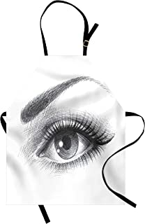 Ambesonne Eye Apron, Pencil Drawing Artwork of a Staring Female Eye with Long Lashes and a Curvy Eyebrow, Unisex Kitchen Bib with Adjustable Neck for Cooking Gardening, Adult Size, Grey White