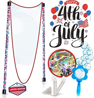 4th of July Edition Giant Bubbles Kit: Perfect Kids Outdoor Toys - Fun Bubble Making Set with Long, Flexible, Corded Dual Wand, Mixing Powder 2.5 Gallons, and Free Mini-Hoop