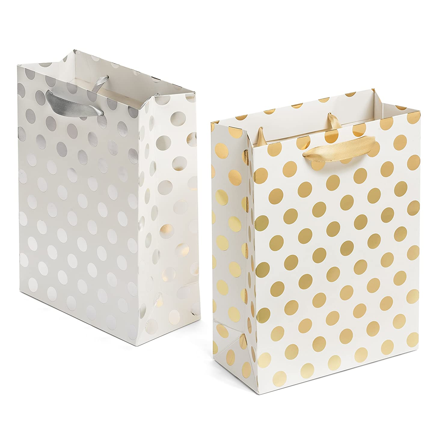 Haute Soiree - 12 Pack - Medium Sized Gift Bags Set with Ribbon Handles - 6 Gold and 6 Silver Polka Dot Bags Perfect for Weddings, Birthday and Holiday Presents