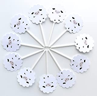 Little Sheep Cupcake Toppers 12 pcs, Little Lamb Cake Picks Birthday Decoration Party Supplies, Neutral Baby Shower Themed