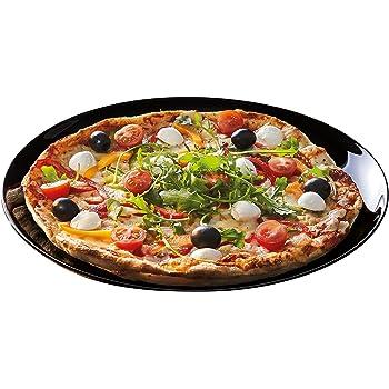 Happy Homewares Assiette /à Pizza Italienne en c/éramique Blanc Moderne avec d/écoration Rouge et Vert Noir