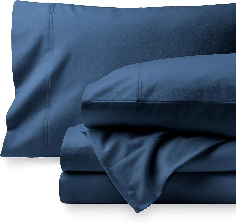 Bare Home Flannel Sheet Set 100% Cotton, Velvety Soft Heavyweight - Double Brushed Flannel - Deep Pocket (Queen, Dark Blue)