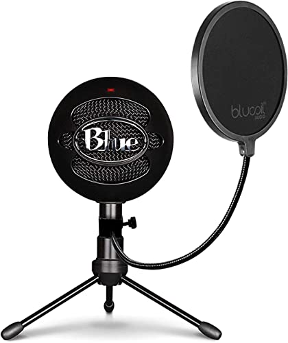 high quality Blue Snowball USB Microphone with Metal Mic Stand for Podcasting, Live 2021 Streaming, Skype/VOIP Calls, Music Recording on Windows and Mac (Gloss Black) Bundle with Blucoil Pop Filter high quality Windscreen online