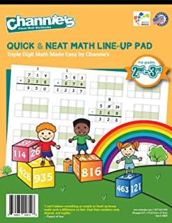 "Channie's Quick & Neat Triple Digit Math Line-Up Pad, 80 Pages Front & Back, 40 Sheets, Grades 2nd & 3rd, Size 8.5"" x 11"""