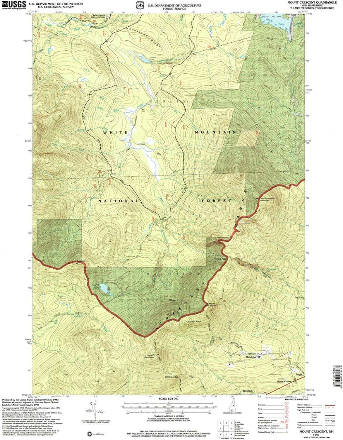 Mount Crescent NH topo map, 1 24000 Scale, 7.5 X 7.5 Minute, Historical, 1995, Updated 1999, 26.9 x 21.2 in