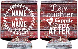 VictoryStore Can and Beverage Coolers - Custom Wedding Can Cooler, Love Laughter and Happily Ever After