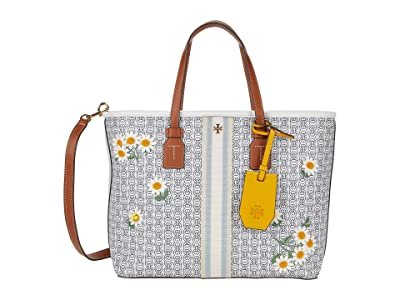 Tory Burch Gemini Link Canvas Applique Small Tote (New Ivory Gemini Link) Handbags