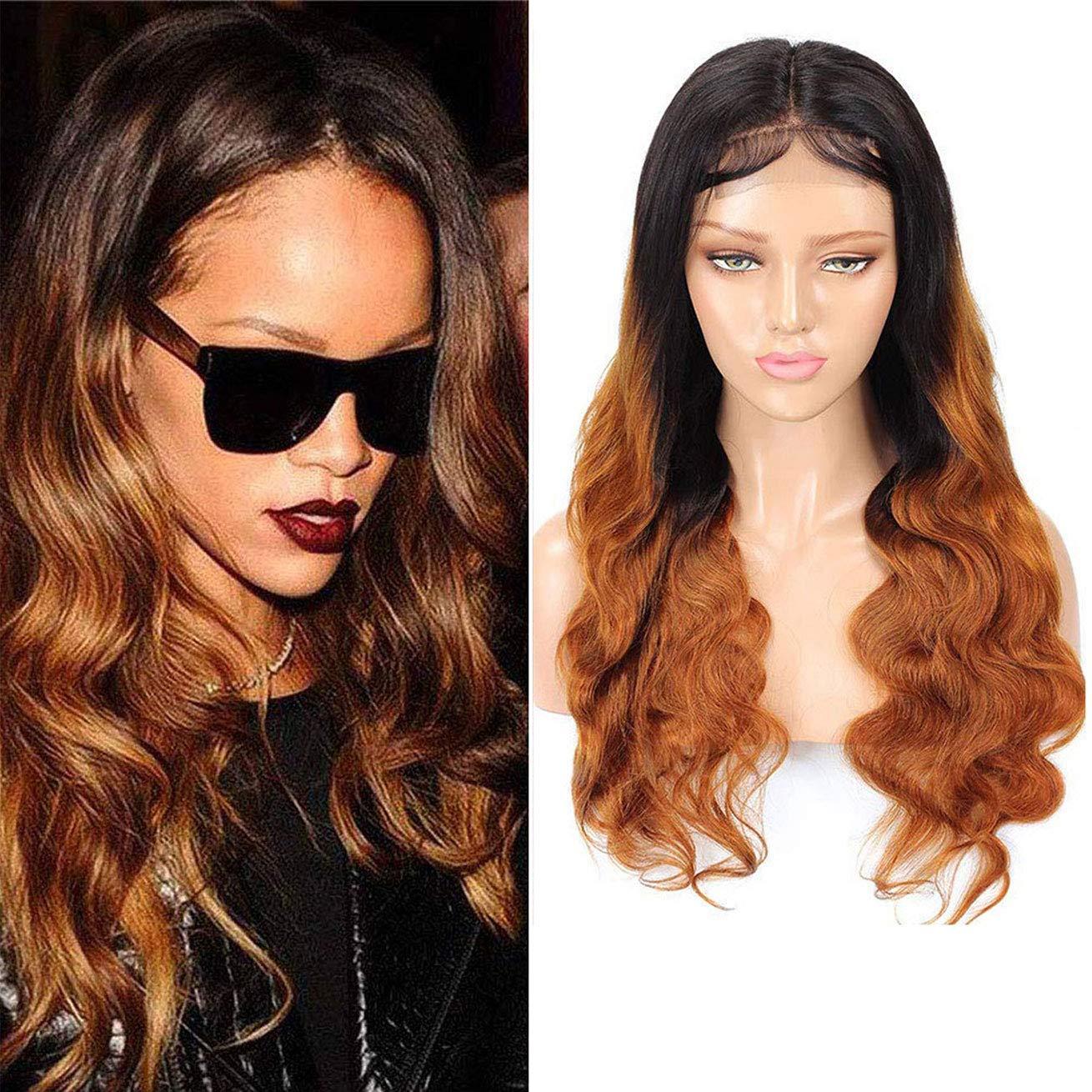 サービス Ombre Human Hair Wigs 1B 30 Brown Closure Body Lac 超歓迎された 4X4 Wave