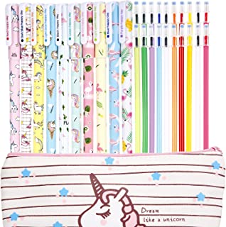 Jetec 10 Pieces Cute Gel Ink Pens Plus Unicorn Pencil Case pouch 20 Pieces Color Refill Ink, Fine Point (0.5 mm) Pen, Unicorn School Supplies for Girls(Style A)