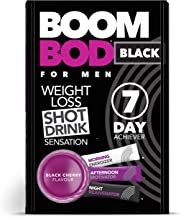 Boombod Weight Loss Shot Drink, Glucomannan, High Potency, Diet and Exercise Enhancement, Promote Fat Loss, Keto and Vegan Friendly, Sugar and Aspartame Free, Gluten-Free - Black Cherry Flavor