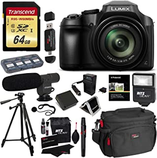 Panasonic FZ80 Lumix Camera, Transcend 64GB Memory Card, Polaroid Professional Microphone, Polaroid Tripod, Flash, Camera Bag, and Accessory Bundle