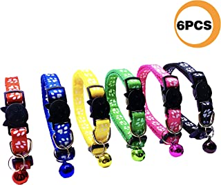 PACCOMFET 6 Pcs Breakaway Cat Collar Adjustable Colorful Nylon Safety Pet Collars with Bells