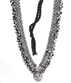 Total Fashion Oxidised German Silver Brass Afghani Designer Turkish Style Ghungroo Necklace Antique Jewellery for Women