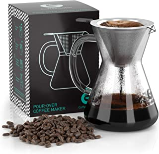 Coffee Gator Pour Over Brewer – Unlock More Flavor with a Paperless Stainless Steel Filter and BPA-Free Glass Carafe - Hand-Drip Coffee Maker - 14 Ounce