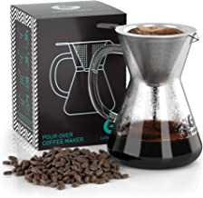 Pour Over Coffee Maker - Great Coffee Made Simple - 3 Cup Hand Drip Coffee Maker With Stainless Steel Filter - No Paper Fi...