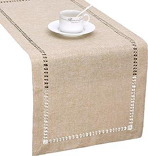 Handmade Hemstitch Beige Table Runner Or Dresser Scarf, Rectangular 14 By 72 Inch