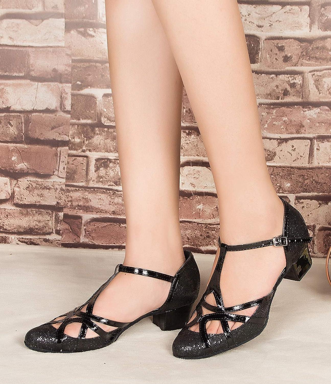 Minishion Womens T-Strap Dance Heels Glitter Salsa Ballroom Shoes