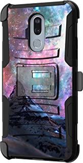 TurtleArmor | Compatible with LG Stylo 5 Case | LG Stylo 5 Plus Case | LG Stylus 5 Case [Hyper Shock] Fitted Armor Holster Belt Clip Hybrid Cover Stand Shock Protective Case - Stars Galaxy Mountain