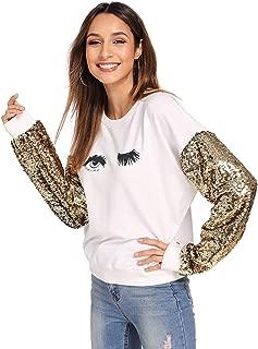 Women's Long Sleeve Sequin Sweatshirt Coloblock Tunic Top Pullovers