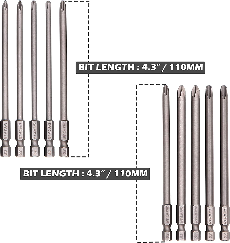PH2 PH1 4.3 Inch // 110mm Milliontronic Extra Long Philips Head Screwdriver Bit Set
