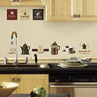 RoomMates RMK1254SCS Coffee House Peel & Stick Wall Decals, Multicolor