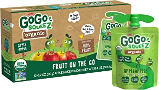GoGo squeeZ Organic Applesauce, Apple Apple, 3.2 Ounce (12 Pouches), Gluten Free, Vegan Friendly, Unsweetened Applesauce, ...