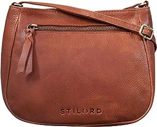 """STILORD Samira"""" Handtasche Leder Frauen zum Umhängen Vintage Umhängetasche für Damen-Tasche Abendtasche Elegante Echtleder Tasche, Farbe:Texas - braun"""