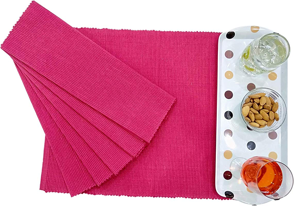 Placemat Sweaty Pink 100 Cotton Fused Placemats Set Of 6 13 X 18 Inch Ideal For Dinner Parties Summer Outdoor Picnics