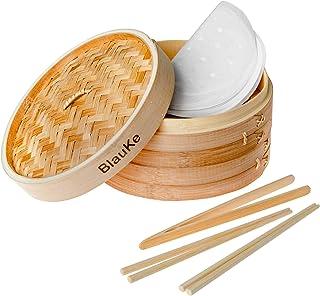 Panier Vapeur Bambou 25cm avec 2 Paires de Baguettes Réutilisables, 50 Papiers de Cire et Pinces - Cuiseur Bambou Avec 2 E...